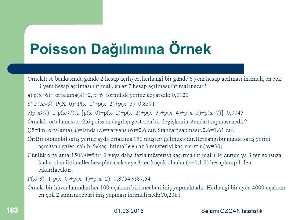 01.03.2016Selami ÖZCAN İstatistik 163 Poisson Dağılımına Örnek Örnek1: A bankasında günde 2 hesap açılıyor, herhangi bir günde 6 yeni hesap açılması i
