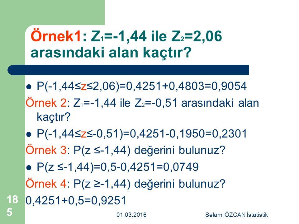 Örnek1: Z 1 =-1,44 ile Z 2 =2,06 arasındaki alan kaçtır? P(-1,44≤z≤2,06)=0,4251+0,4803=0,9054 Örnek 2: Z 1 =-1,44 ile Z 2 =-0,51 arasındaki alan kaçtı