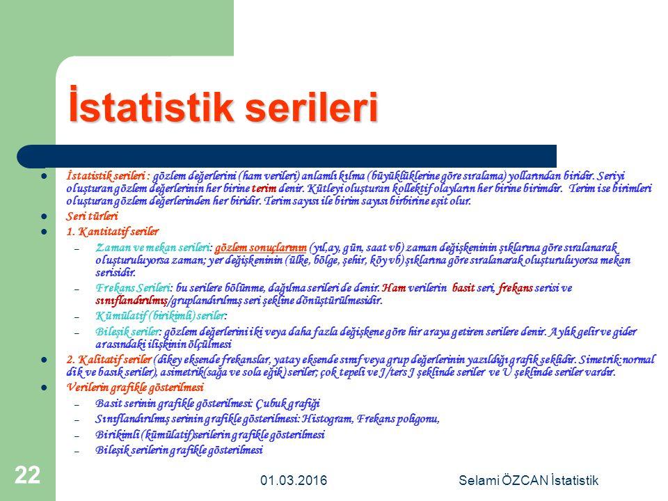 01.03.2016Selami ÖZCAN İstatistik 22 İstatistik serileri İstatistik serileri : gözlem değerlerini (ham verileri) anlamlı kılma (büyüklüklerine göre sı