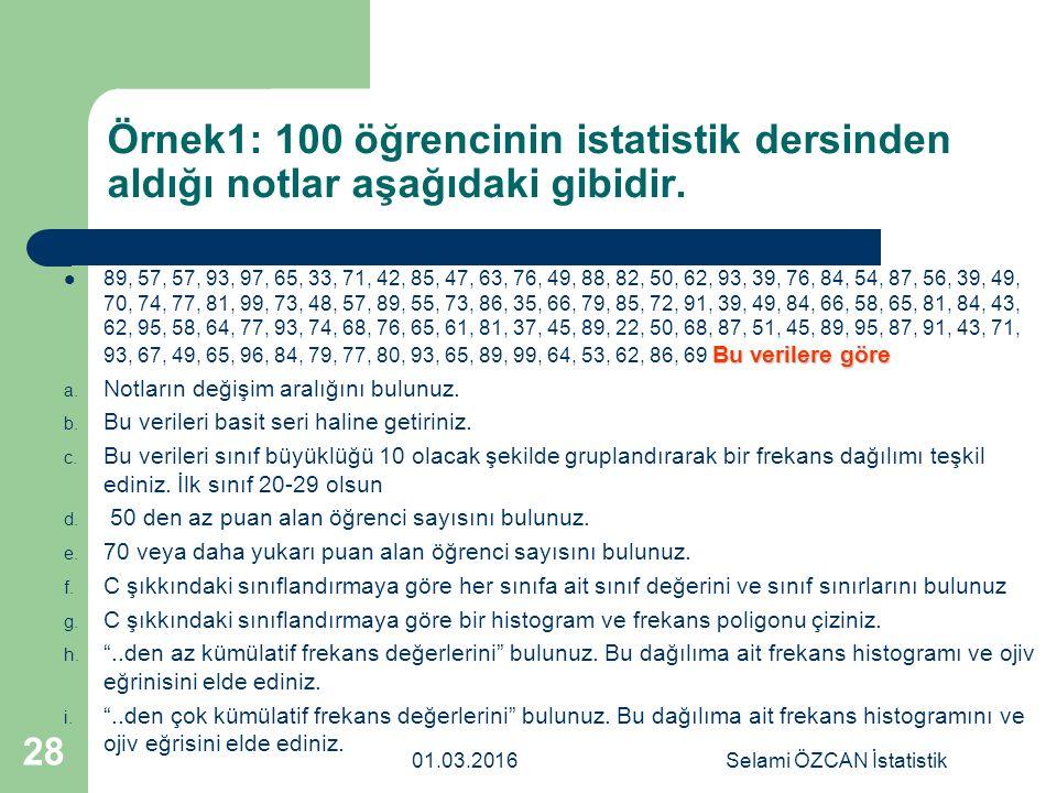 Örnek1: 100 öğrencinin istatistik dersinden aldığı notlar aşağıdaki gibidir. Bu verilere göre 89, 57, 57, 93, 97, 65, 33, 71, 42, 85, 47, 63, 76, 49,