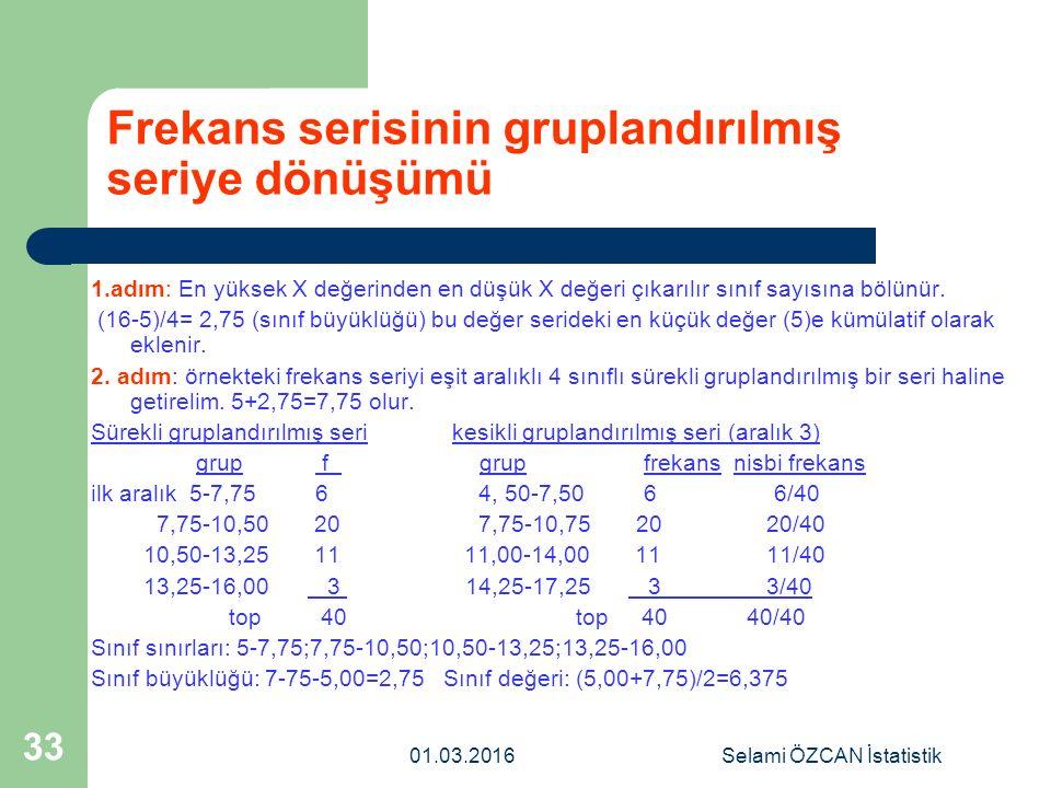 01.03.2016Selami ÖZCAN İstatistik 33 Frekans serisinin gruplandırılmış seriye dönüşümü 1.adım: En yüksek X değerinden en düşük X değeri çıkarılır sını