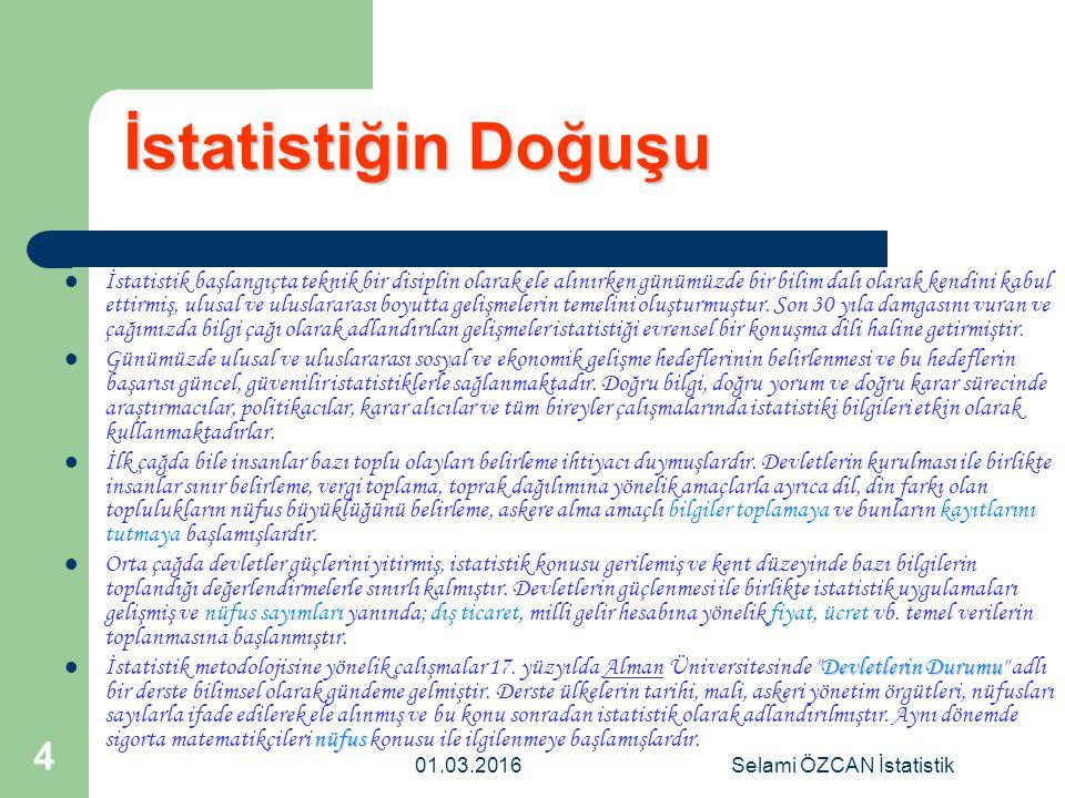 01.03.2016Selami ÖZCAN İstatistik 5 İstatistiğin Gelişimi Pascal, Bernouilli, Moivne, Laplace, Poisson ve Gauss ihtimal teorisiçan eğrisi 17.