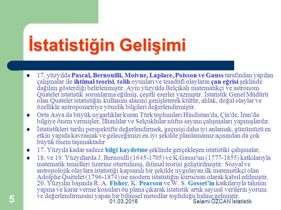 01.03.2016Selami ÖZCAN İstatistik 5 İstatistiğin Gelişimi Pascal, Bernouilli, Moivne, Laplace, Poisson ve Gauss ihtimal teorisiçan eğrisi 17. yüzyılda