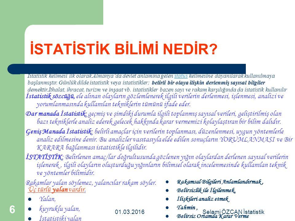 01.03.2016Selami ÖZCAN İstatistik 7 (konuları açısından) İstatistik ikiye ayrılır 1.