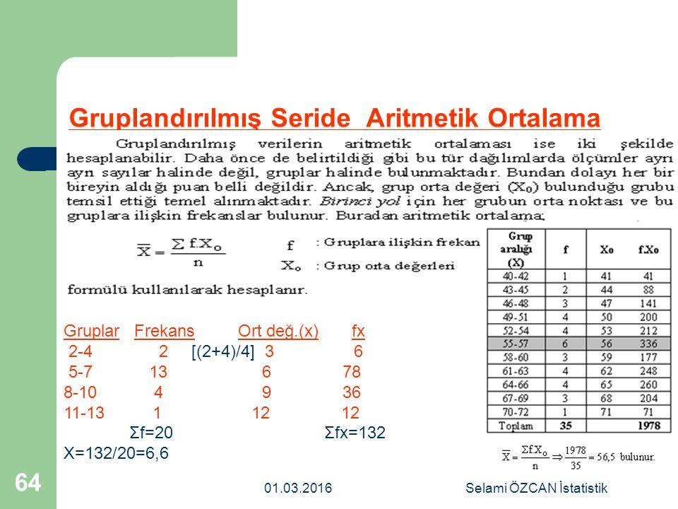 Gruplandırılmış Seride Aritmetik Ortalama 01.03.2016Selami ÖZCAN İstatistik 64 Gruplar Frekans Ort değ.(x) fx 2-4 2 [(2+4)/4] 3 6 5-7 13 6 78 8-10 4 9