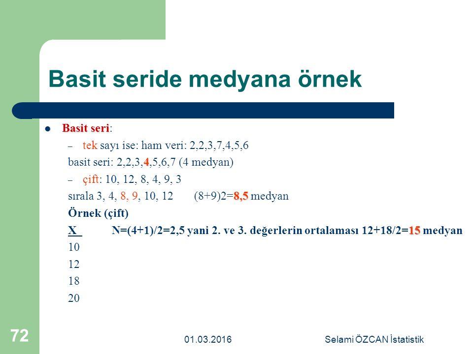 Basit seride medyana örnek Basit seri Basit seri: – tek sayı ise: ham veri: 2,2,3,7,4,5,6 4 basit seri: 2,2,3,4,5,6,7 (4 medyan) – çift: 10, 12, 8, 4,