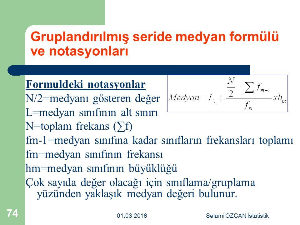 01.03.2016Selami ÖZCAN İstatistik 74 Gruplandırılmış seride medyan formülü ve notasyonları Formuldeki notasyonlar N/2=medyanı gösteren değer L=medyan