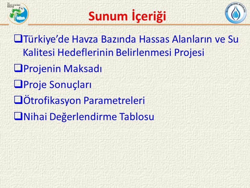 Projenin Maksadı: Türkiye'deki 25 su havzasında bulunan yüzeysel sularda kentsel su kirliliği açısından hassas su alanlarının ve nitrata hassas bölgelerin tespiti ve su kalitesi hedefleri ile su kalitesinin iyileştirilmesi için alınacak tedbirlerin belirlenmesidir.