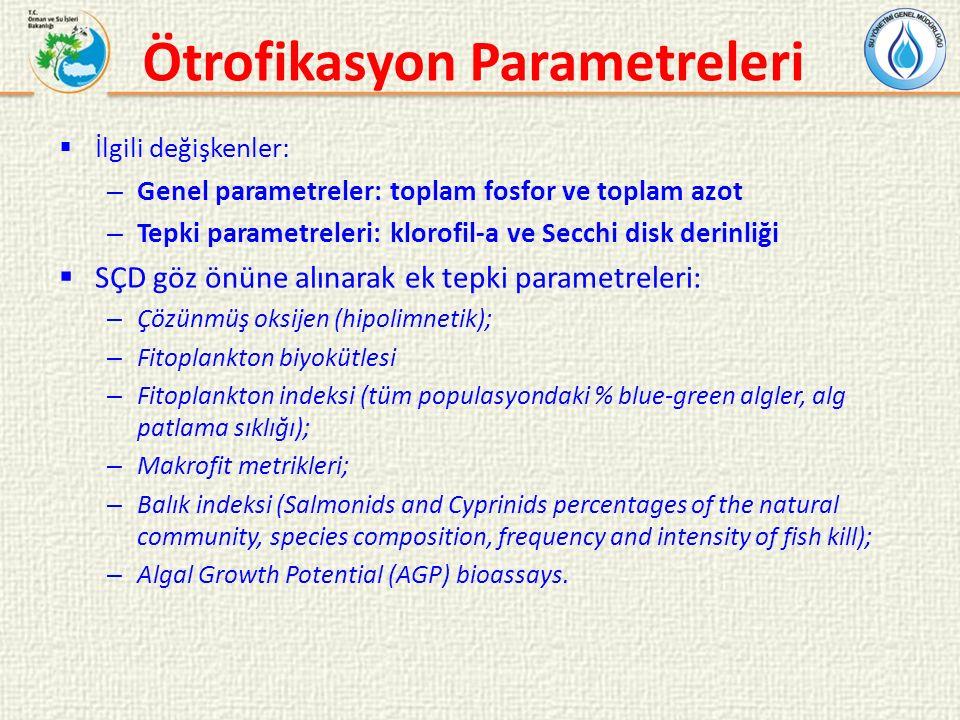 Ötrofikasyon Parametreleri  İlgili değişkenler: – Genel parametreler: toplam fosfor ve toplam azot – Tepki parametreleri: klorofil-a ve Secchi disk derinliği  SÇD göz önüne alınarak ek tepki parametreleri: – Çözünmüş oksijen (hipolimnetik); – Fitoplankton biyokütlesi – Fitoplankton indeksi (tüm populasyondaki % blue-green algler, alg patlama sıklığı); – Makrofit metrikleri; – Balık indeksi (Salmonids and Cyprinids percentages of the natural community, species composition, frequency and intensity of fish kill); – Algal Growth Potential (AGP) bioassays.