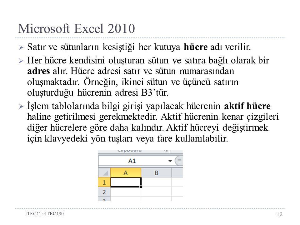Microsoft Excel 2010  Satır ve sütunların kesiştiği her kutuya hücre adı verilir.  Her hücre kendisini oluşturan sütun ve satıra bağlı olarak bir ad