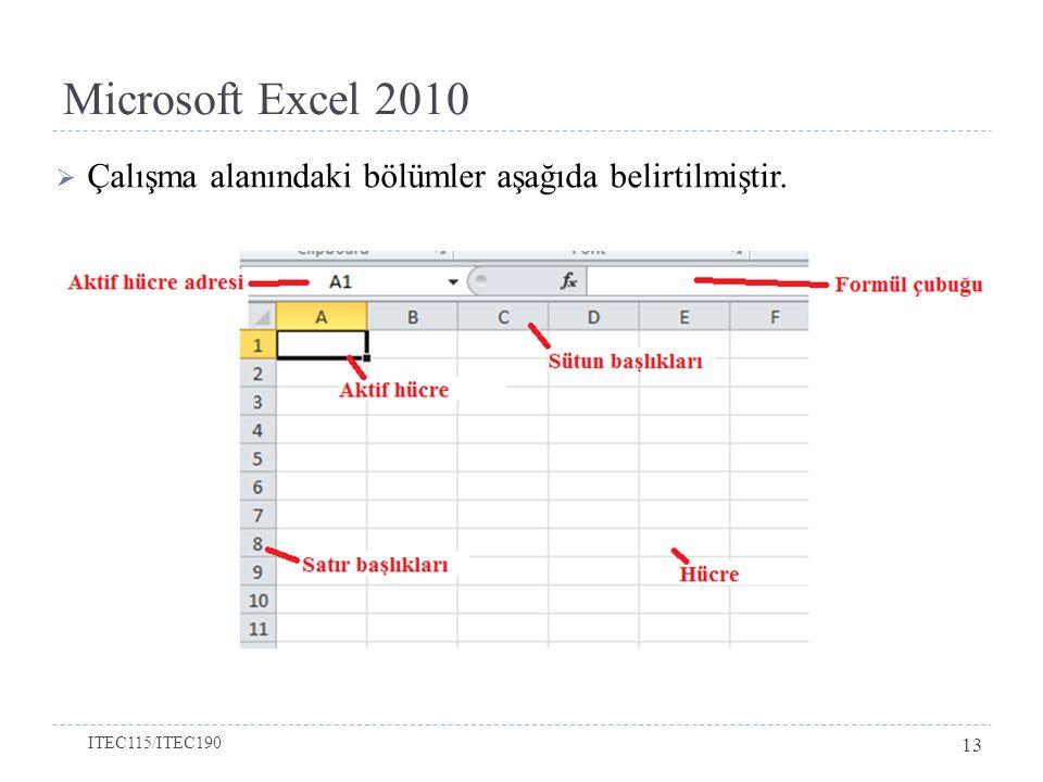 Microsoft Excel 2010  Çalışma alanındaki bölümler aşağıda belirtilmiştir. ITEC115/ITEC190 13
