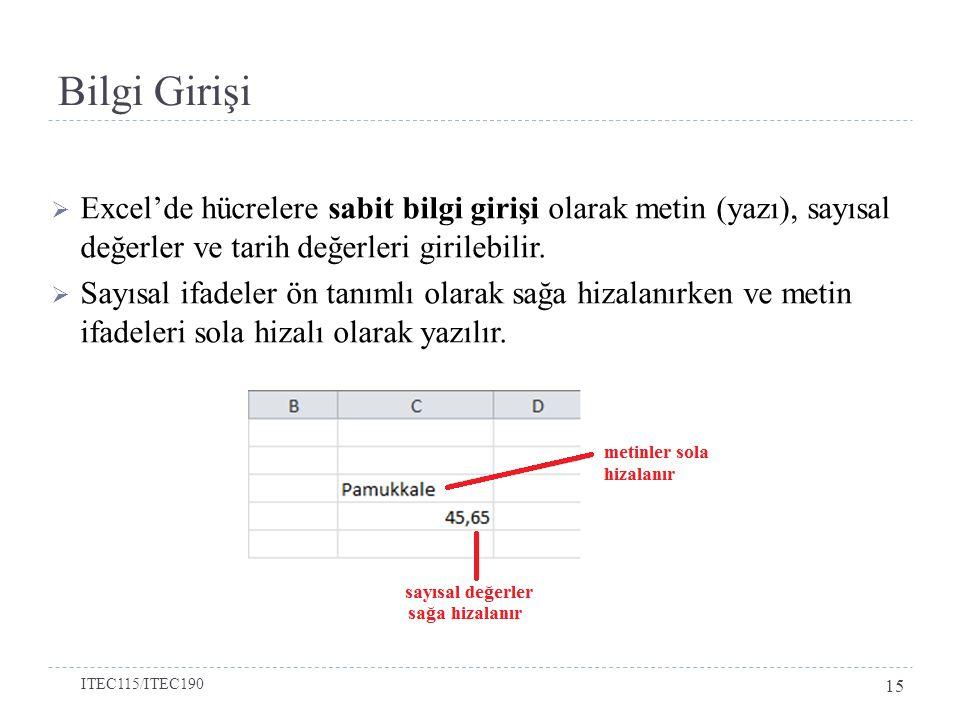 Bilgi Girişi  Excel'de hücrelere sabit bilgi girişi olarak metin (yazı), sayısal değerler ve tarih değerleri girilebilir.  Sayısal ifadeler ön tanım