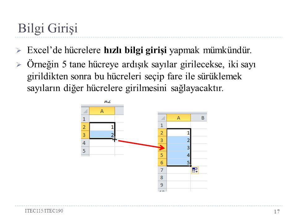 Bilgi Girişi  Excel'de hücrelere hızlı bilgi girişi yapmak mümkündür.  Örneğin 5 tane hücreye ardışık sayılar girilecekse, iki sayı girildikten sonr