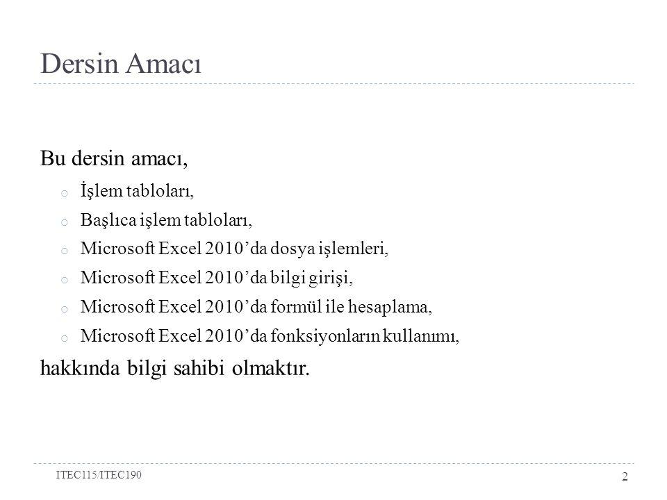 Dersin Amacı Bu dersin amacı, o İşlem tabloları, o Başlıca işlem tabloları, o Microsoft Excel 2010'da dosya işlemleri, o Microsoft Excel 2010'da bilgi girişi, o Microsoft Excel 2010'da formül ile hesaplama, o Microsoft Excel 2010'da fonksiyonların kullanımı, hakkında bilgi sahibi olmaktır.