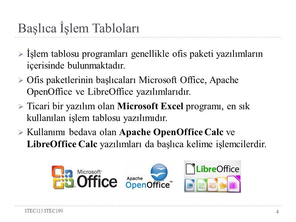 Başlıca İşlem Tabloları  İşlem tablosu programları genellikle ofis paketi yazılımların içerisinde bulunmaktadır.