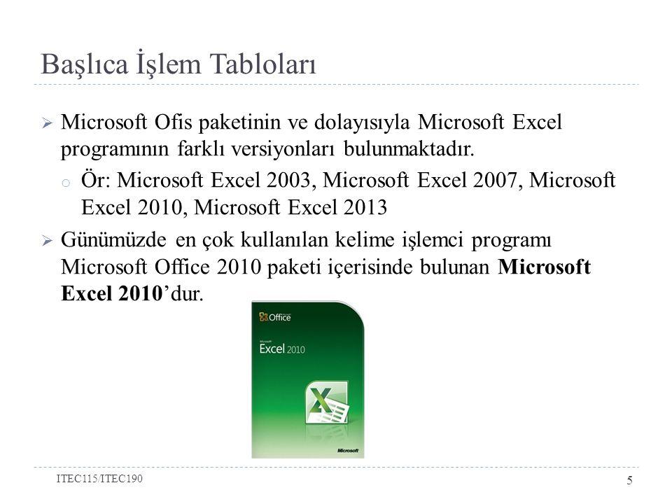 Başlıca İşlem Tabloları  Microsoft Ofis paketinin ve dolayısıyla Microsoft Excel programının farklı versiyonları bulunmaktadır.