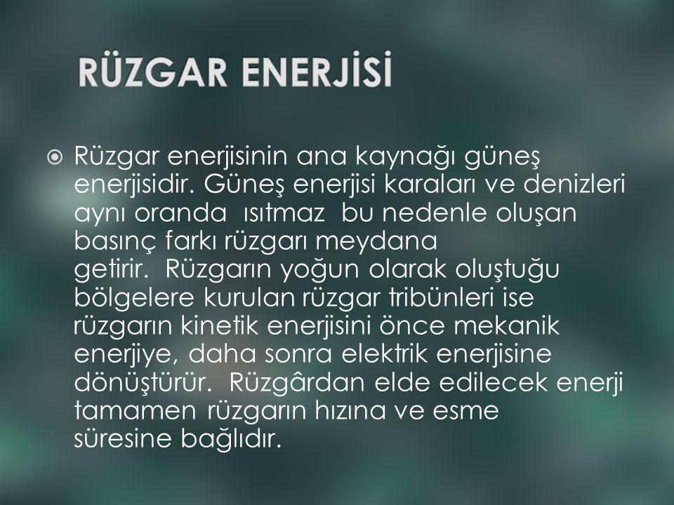  Rüzgar enerjisinin ana kaynağı güneş enerjisidir. Güneş enerjisi karaları ve denizleri aynı oranda ısıtmaz bu nedenle oluşan basınç farkı rüzgarı me