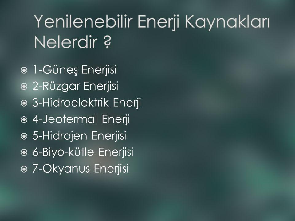  1-Güneş Enerjisi  2-Rüzgar Enerjisi  3-Hidroelektrik Enerji  4-Jeotermal Enerji  5-Hidrojen Enerjisi  6-Biyo-kütle Enerjisi  7-Okyanus Enerjis