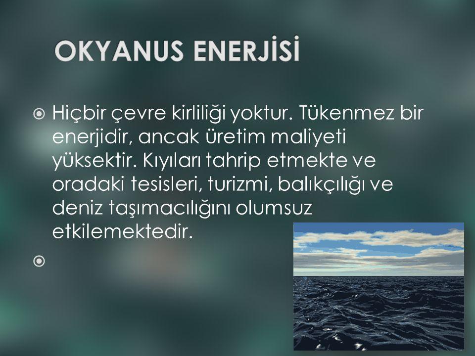  Hiçbir çevre kirliliği yoktur. Tükenmez bir enerjidir, ancak üretim maliyeti yüksektir. Kıyıları tahrip etmekte ve oradaki tesisleri, turizmi, balık
