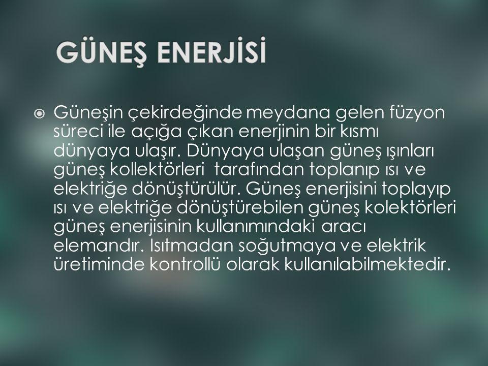  Güneşin çekirdeğinde meydana gelen füzyon süreci ile açığa çıkan enerjinin bir kısmı dünyaya ulaşır. Dünyaya ulaşan güneş ışınları güneş kollektörle