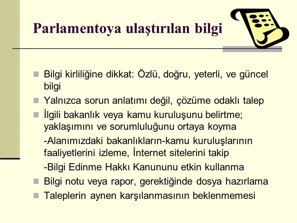 Parlamentoya ulaştırılan bilgi Bilgi kirliliğine dikkat: Özlü, doğru, yeterli, ve güncel bilgi Yalnızca sorun anlatımı değil, çözüme odaklı talep İlgi