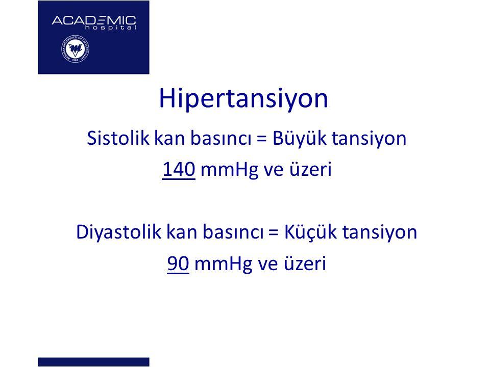 Hipertansiyon Sistolik kan basıncı = Büyük tansiyon 140 mmHg ve üzeri Diyastolik kan basıncı = Küçük tansiyon 90 mmHg ve üzeri