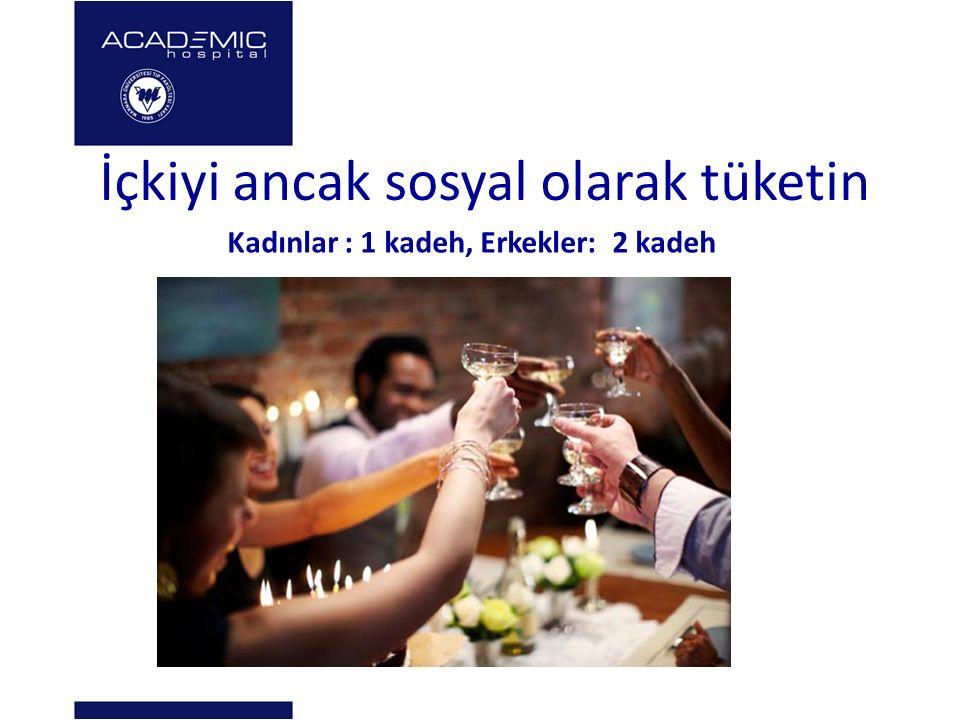 İçkiyi ancak sosyal olarak tüketin Kadınlar : 1 kadeh, Erkekler: 2 kadeh
