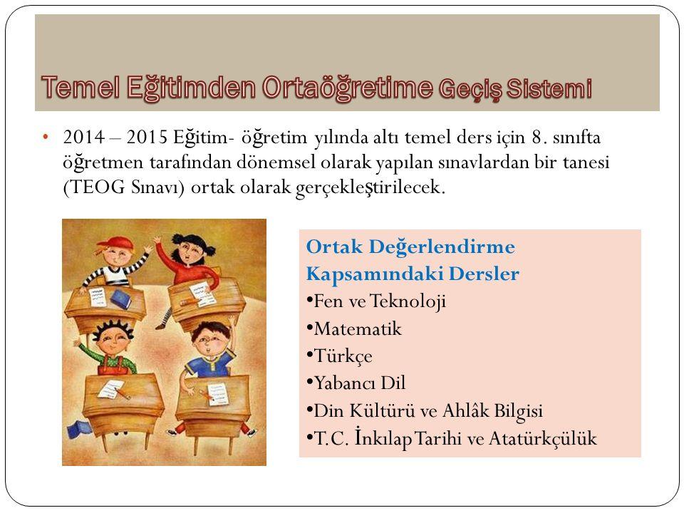 2014 – 2015 E ğ itim- ö ğ retim yılında altı temel ders için 8. sınıfta ö ğ retmen tarafından dönemsel olarak yapılan sınavlardan bir tanesi (TEOG Sın