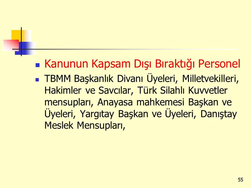 Kanunun Kapsam Dışı Bıraktığı Personel TBMM Başkanlık Divanı Üyeleri, Milletvekilleri, Hakimler ve Savcılar, Türk Silahlı Kuvvetler mensupları, Anayas