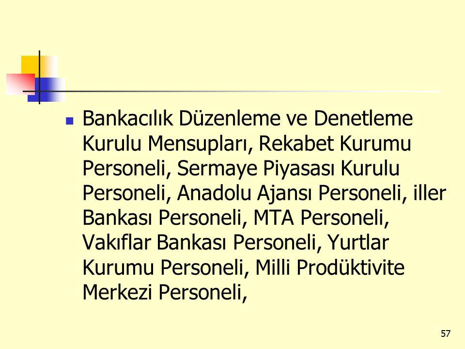 Bankacılık Düzenleme ve Denetleme Kurulu Mensupları, Rekabet Kurumu Personeli, Sermaye Piyasası Kurulu Personeli, Anadolu Ajansı Personeli, iller Bank