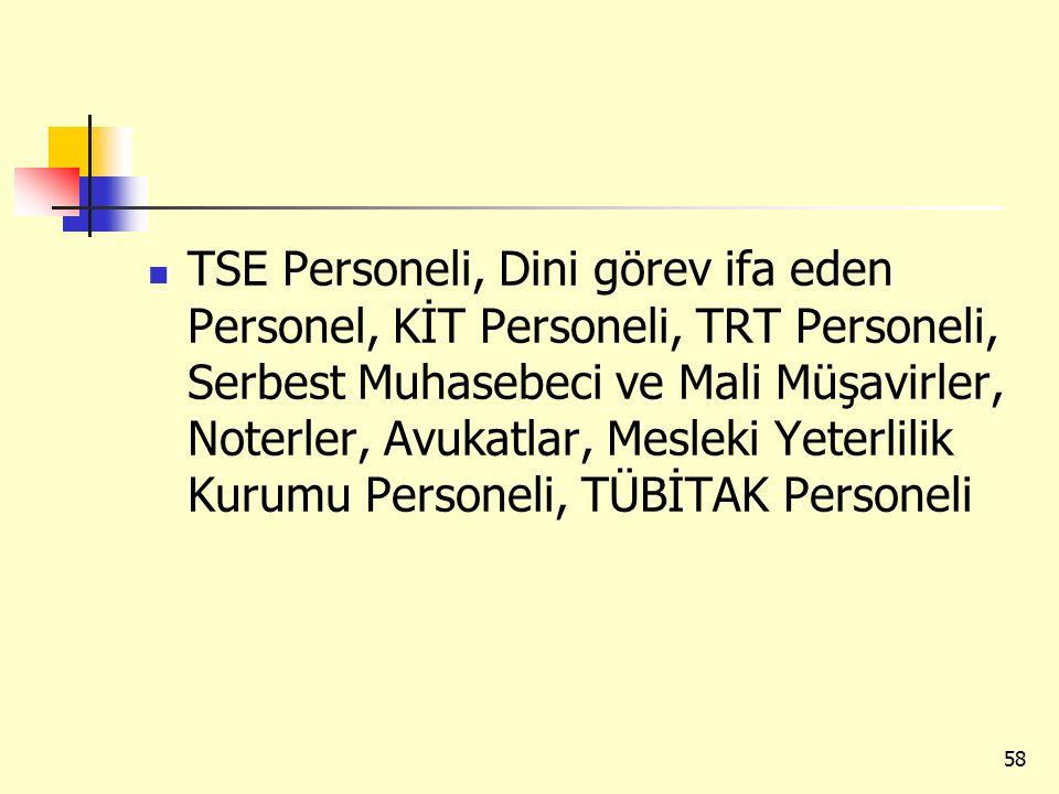 TSE Personeli, Dini görev ifa eden Personel, KİT Personeli, TRT Personeli, Serbest Muhasebeci ve Mali Müşavirler, Noterler, Avukatlar, Mesleki Yeterlilik Kurumu Personeli, TÜBİTAK Personeli 58