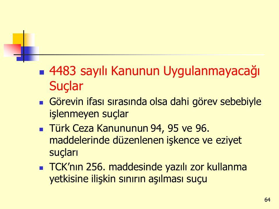 4483 sayılı Kanunun Uygulanmayacağı Suçlar Görevin ifası sırasında olsa dahi görev sebebiyle işlenmeyen suçlar Türk Ceza Kanununun 94, 95 ve 96.