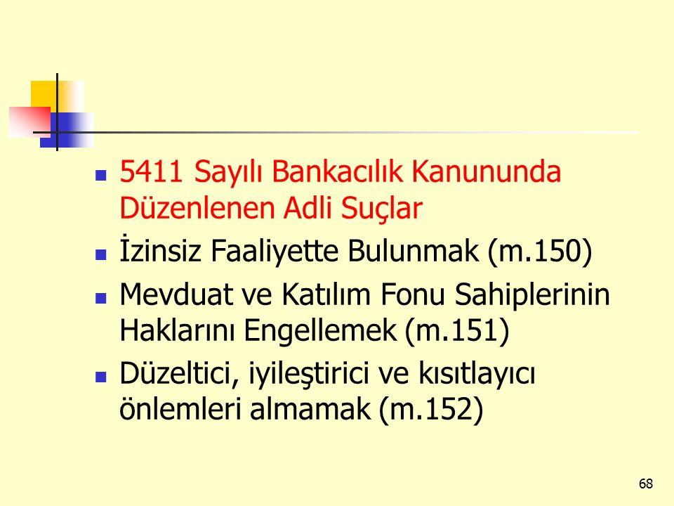 5411 Sayılı Bankacılık Kanununda Düzenlenen Adli Suçlar İzinsiz Faaliyette Bulunmak (m.150) Mevduat ve Katılım Fonu Sahiplerinin Haklarını Engellemek (m.151) Düzeltici, iyileştirici ve kısıtlayıcı önlemleri almamak (m.152) 68