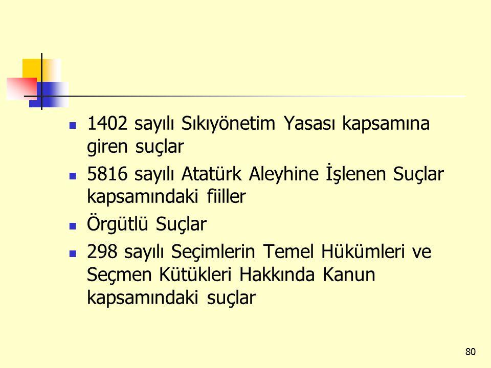 1402 sayılı Sıkıyönetim Yasası kapsamına giren suçlar 5816 sayılı Atatürk Aleyhine İşlenen Suçlar kapsamındaki fiiller Örgütlü Suçlar 298 sayılı Seçimlerin Temel Hükümleri ve Seçmen Kütükleri Hakkında Kanun kapsamındaki suçlar 80