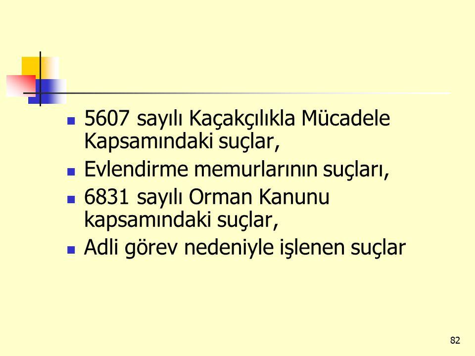 5607 sayılı Kaçakçılıkla Mücadele Kapsamındaki suçlar, Evlendirme memurlarının suçları, 6831 sayılı Orman Kanunu kapsamındaki suçlar, Adli görev nedeniyle işlenen suçlar 82