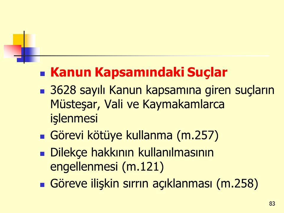 Kanun Kapsamındaki Suçlar 3628 sayılı Kanun kapsamına giren suçların Müsteşar, Vali ve Kaymakamlarca işlenmesi Görevi kötüye kullanma (m.257) Dilekçe