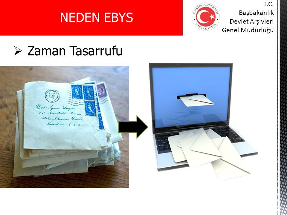  Zaman Tasarrufu NEDEN EBYS T.C. Başbakanlık Devlet Arşivleri Genel Müdürlüğü