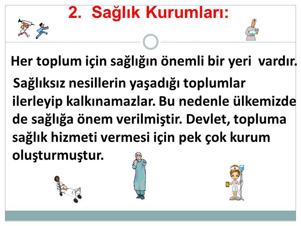 2.Sağlık Kurumları: Her toplum için sağlığın önemli bir yeri vardır.