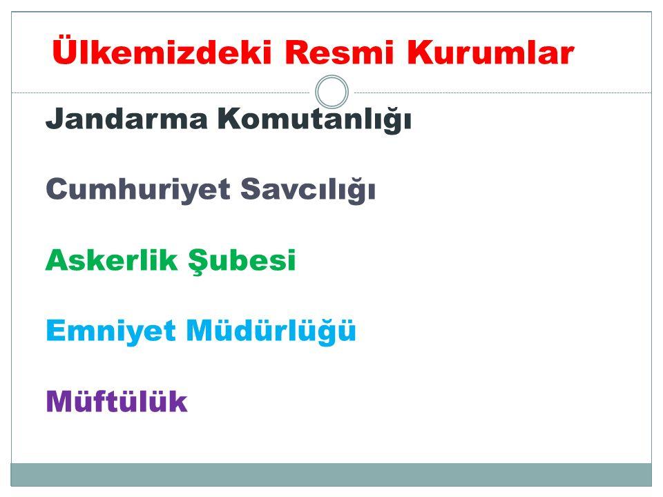 Jandarma Komutanlığı Cumhuriyet Savcılığı Askerlik Şubesi Emniyet Müdürlüğü Müftülük Ülkemizdeki Resmi Kurumlar