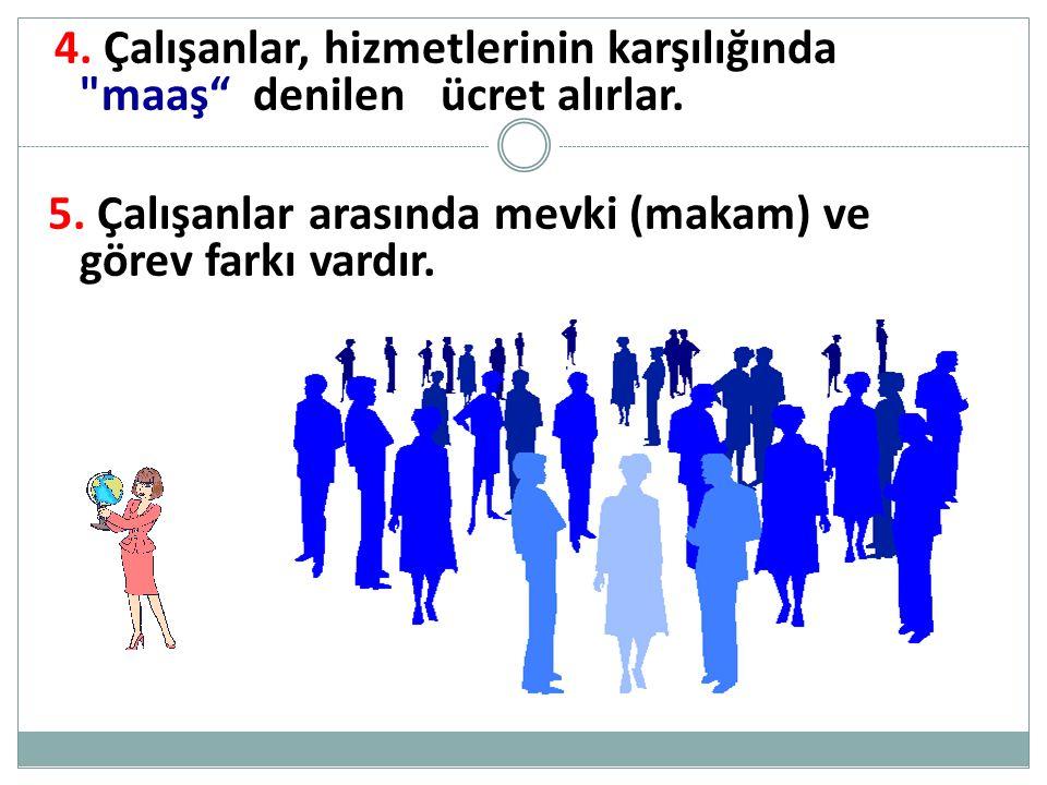 4.Çalışanlar, hizmetlerinin karşılığında maaş denilen ücret alırlar.