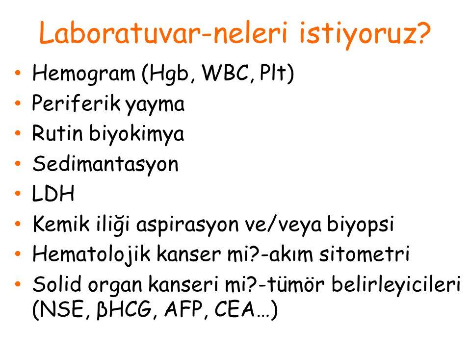 Laboratuvar-neleri istiyoruz? Hemogram (Hgb, WBC, Plt) Periferik yayma Rutin biyokimya Sedimantasyon LDH Kemik iliği aspirasyon ve/veya biyopsi Hemato