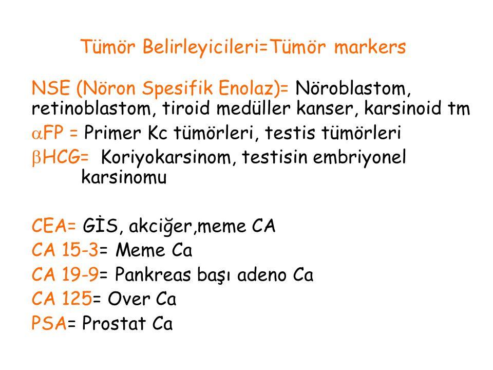 NSE (Nöron Spesifik Enolaz)= Nöroblastom, retinoblastom, tiroid medüller kanser, karsinoid tm  FP = Primer Kc tümörleri, testis tümörleri  HCG= Kori