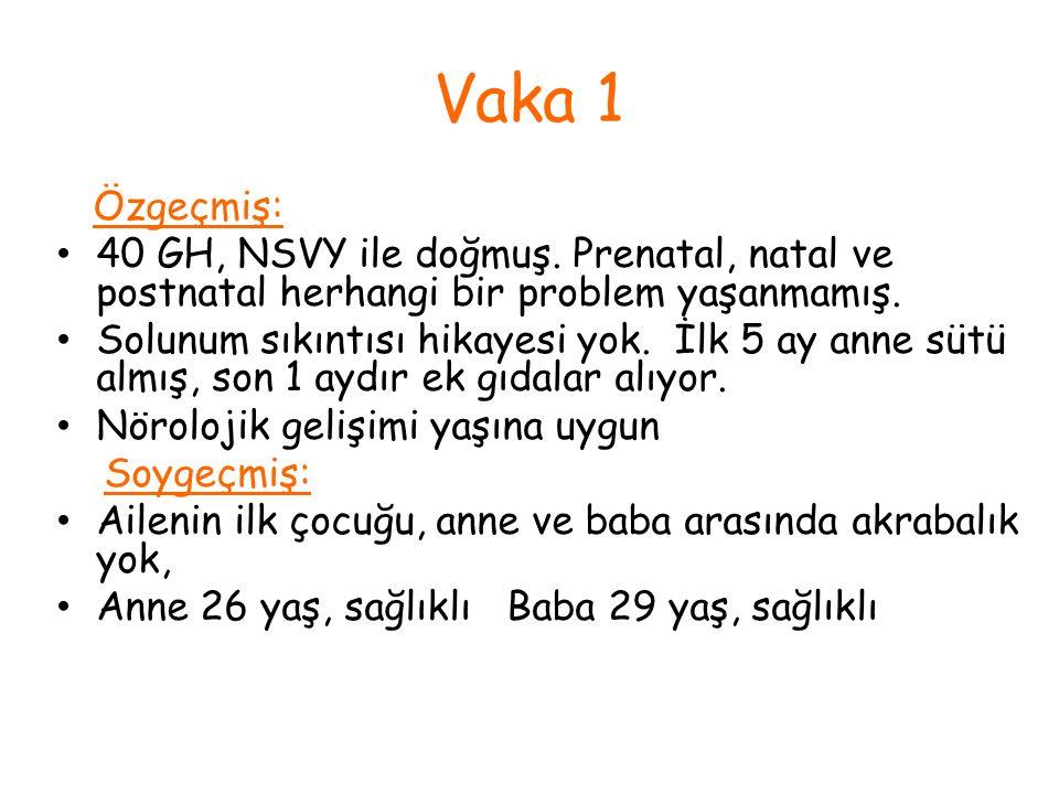 Vaka 1 Özgeçmiş: 40 GH, NSVY ile doğmuş. Prenatal, natal ve postnatal herhangi bir problem yaşanmamış. Solunum sıkıntısı hikayesi yok. İlk 5 ay anne s