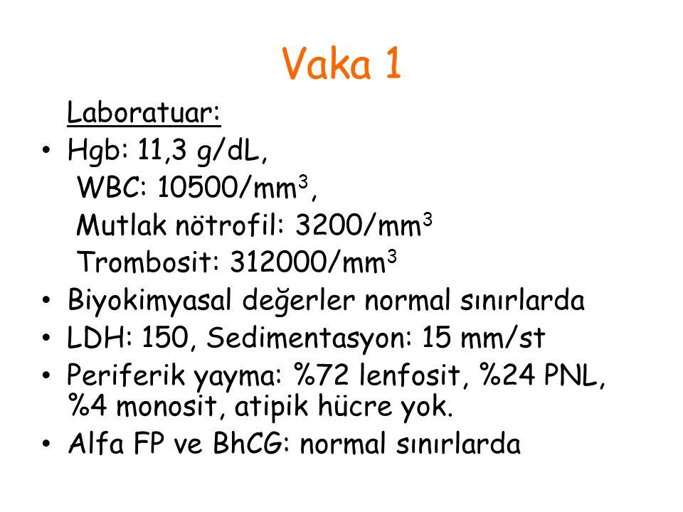 Vaka 1 Laboratuar: Hgb: 11,3 g/dL, WBC: 10500/mm 3, Mutlak nötrofil: 3200/mm 3 Trombosit: 312000/mm 3 Biyokimyasal değerler normal sınırlarda LDH: 150
