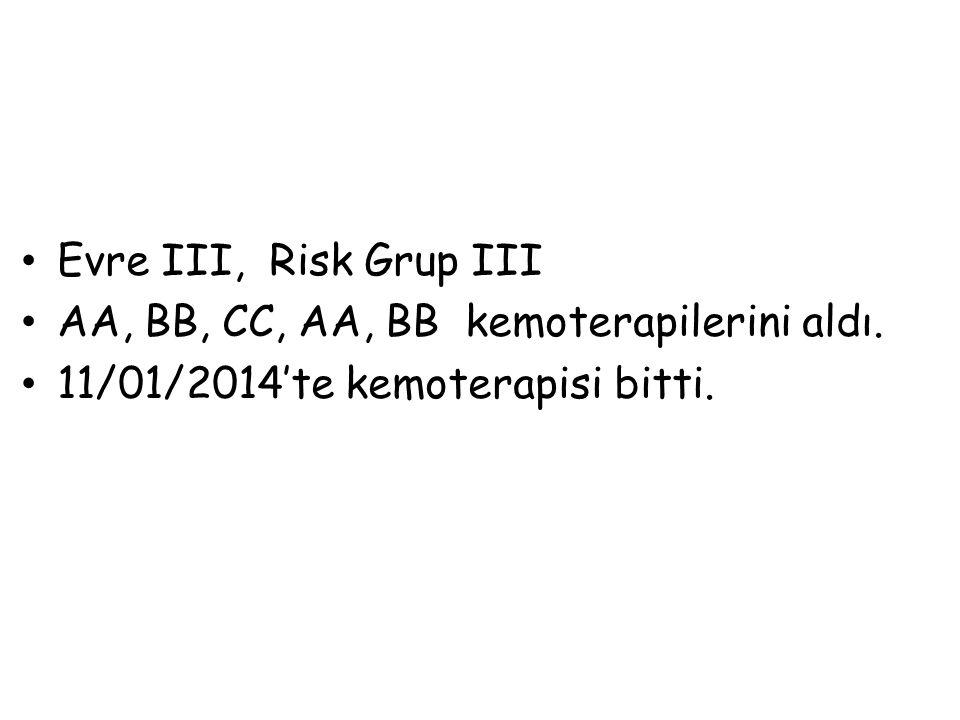 Evre III, Risk Grup III AA, BB, CC, AA, BB kemoterapilerini aldı. 11/01/2014'te kemoterapisi bitti.