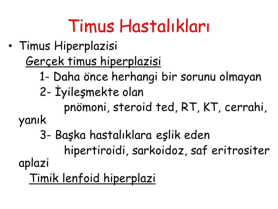 Timus Hastalıkları Timus Hiperplazisi Gerçek timus hiperplazisi 1- Daha önce herhangi bir sorunu olmayan 2- İyileşmekte olan pnömoni, steroid ted, RT,