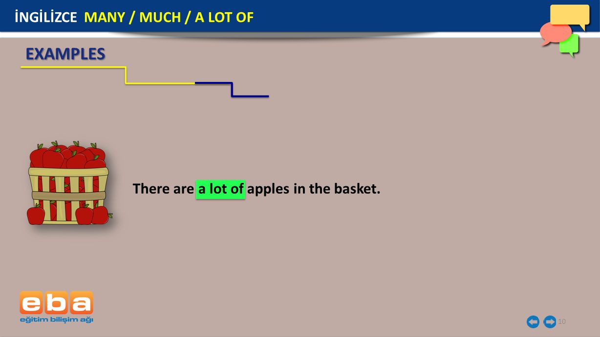 10 EXAMPLES There are a lot of apples in the basket. İNGİLİZCE MANY / MUCH / A LOT OF