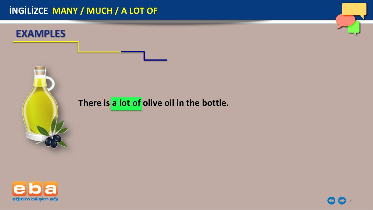 9 EXAMPLES There is a lot of olive oil in the bottle. İNGİLİZCE MANY / MUCH / A LOT OF
