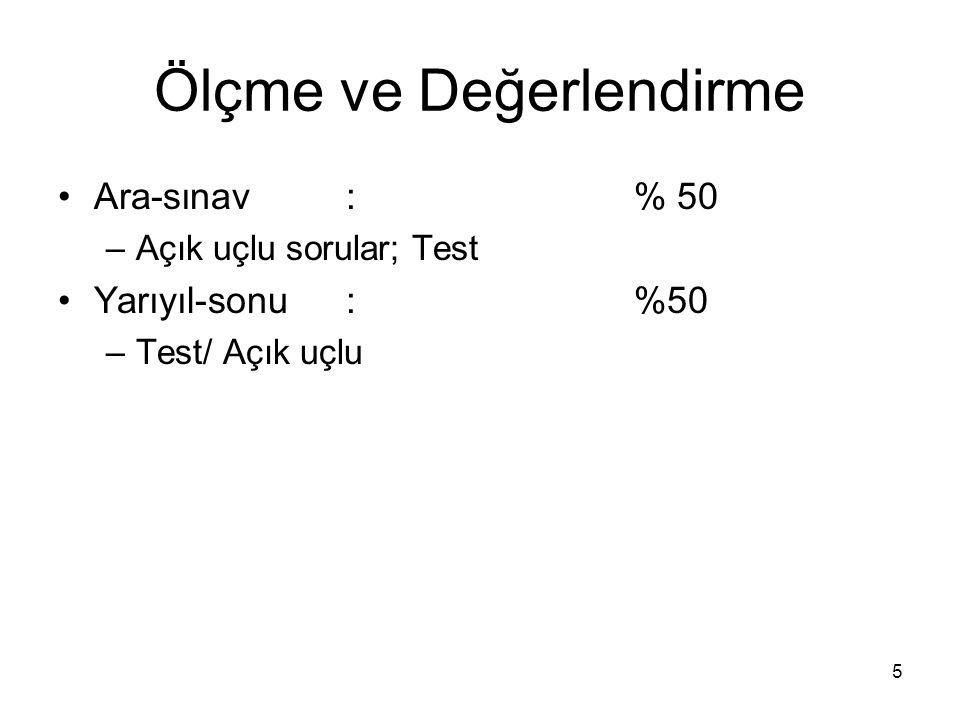 5 Ölçme ve Değerlendirme Ara-sınav: % 50 –Açık uçlu sorular; Test Yarıyıl-sonu: %50 –Test/ Açık uçlu