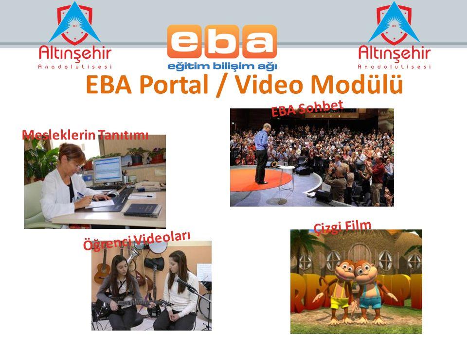 Mesleklerin Tanıtımı Öğrenci Videoları Çizgi Film EBA Sohbet EBA Portal / Video Modülü